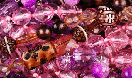precious stone: Background from various pink jewellery Stock Photo