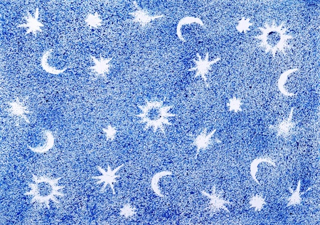 The star sky drawn by water color paints