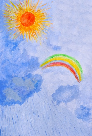Watercolor drawing by hand. Sun, rain, rainbow. Stock Photo