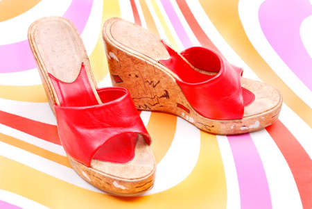 red shoe on wooden heel Stock Photo - 10730462