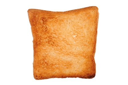 one slice of toast bread isolated on white