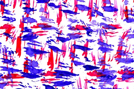 blue toned: abstract red and blue strokes. watercolor background. Stock Photo