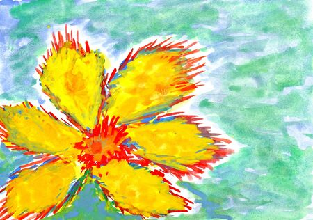 big yellow flower. wetercolor drawing on paper. photo