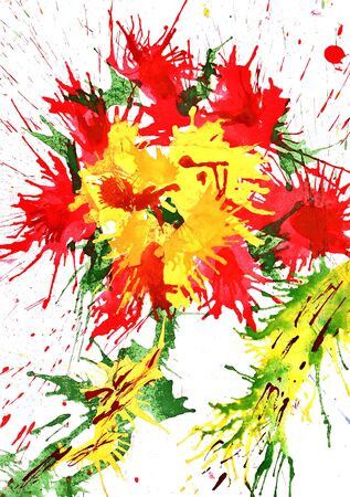red flower from watercolor splashing