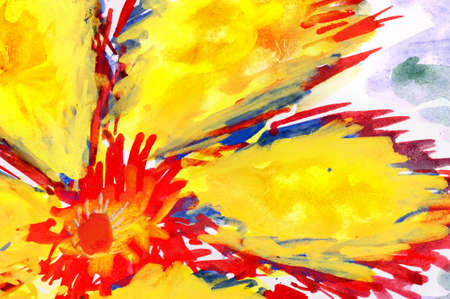 fiery flower. watercolor drawing on paper. photo