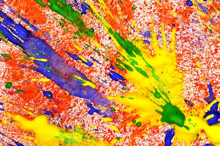 mixed colors: watercolor explosion drops on paper Stock Photo