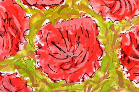 red flowers  wetercolor drawing on paper  photo