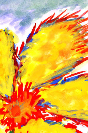 toned: fiery flower. watercolor drawing on paper. Stock Photo