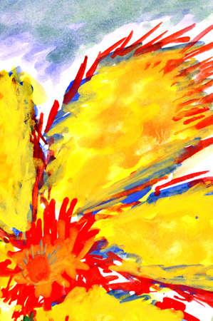 flor de fuego. acuarela, dibujo en papel. Foto de archivo - 12665676