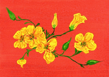 watercolor drawing. yellow flower on red background photo