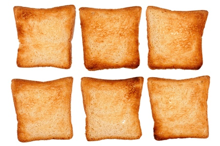set of toast bread isolated on white