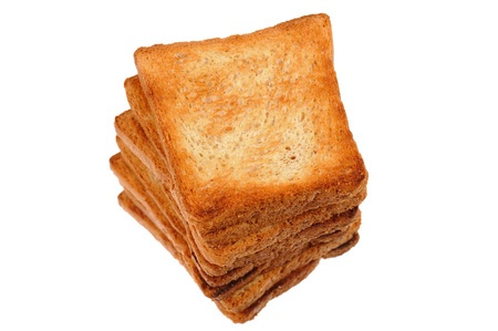 stack of toasted breads isolated