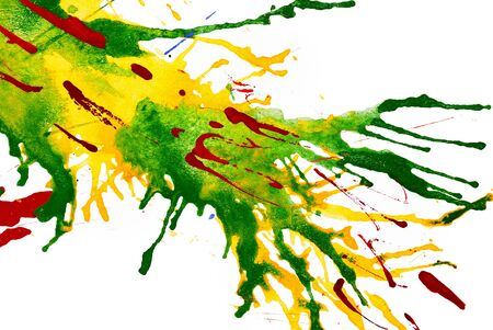 splash mixed: watercolor explosion drops on paper. isolated