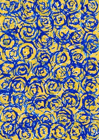Abstract yellow and blue circle background from watercolor photo