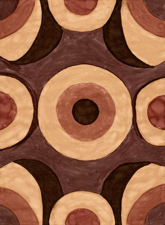 perfect fit: Abstract brown circle background from watercolor Stock Photo