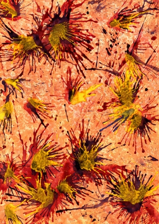 gouache: Abstract watercolor splashes and background Stock Photo