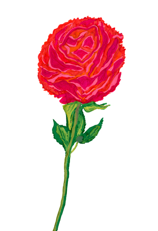 Big red flower painted by watercolor Imagens - 39661297