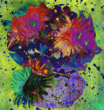 Impressionistic watercolor flowers in a vase. Imagens - 40033567