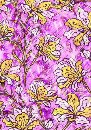 Beautiful watercolor illustration with yellow flowers.