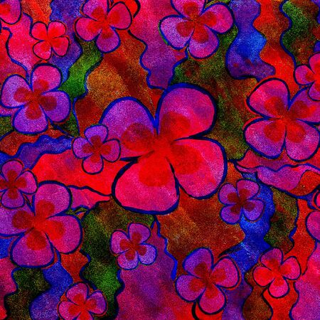 Abstract red and blue floral background.
