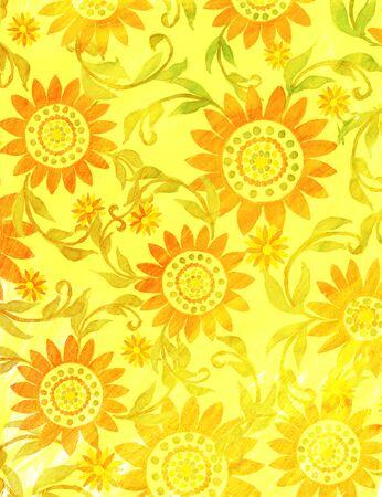 Sunny floral handdrawn backdrop illustration. Imagens - 40033574