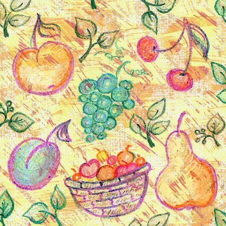 Rustic background with fruits illustration. Imagens - 40033581