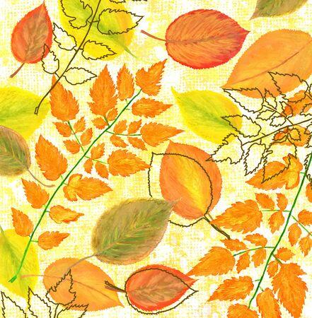 Bright watercolor autumn foliage graphic design.