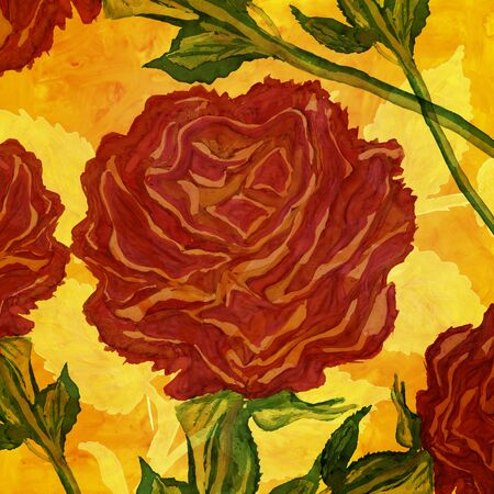 monumental: Monumental red roses hand drawn design illustration.