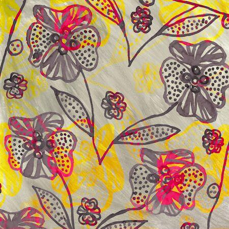 Big flowers handdrawn pop-art design. Imagens - 40033519