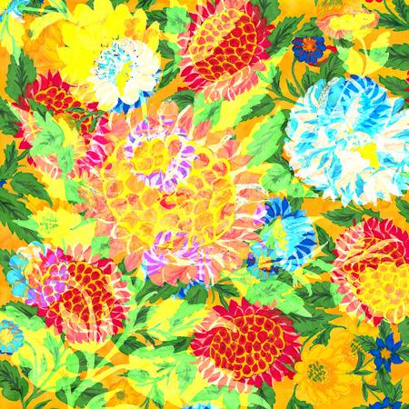 Folk hand drawn floral design illustration.