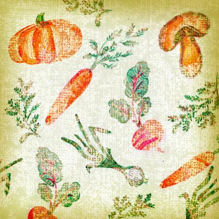 Rustic vintage background with vegetables illustration.
