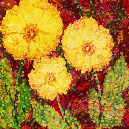 Acrylic hand drawn design with three big yellow flowers. Imagens - 40033524