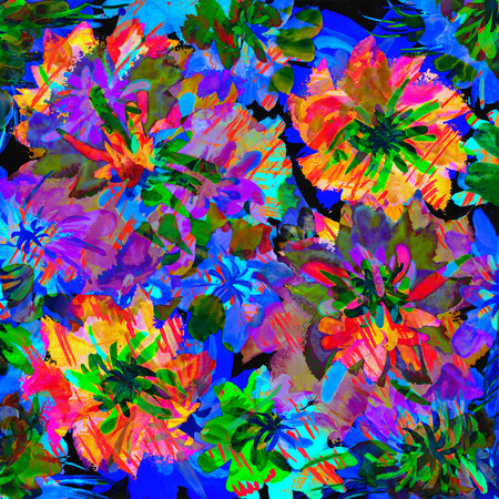Vibrant art design with multicolored flowers. Stock Photo