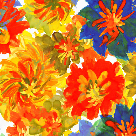 watercolor multicolor flowers as  background. Imagens - 42001835