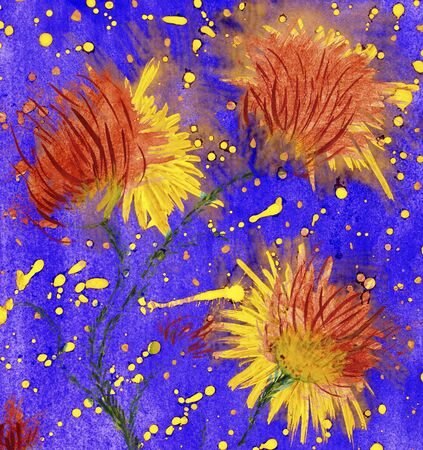 Bright watercolor flowers with blots like a stars.