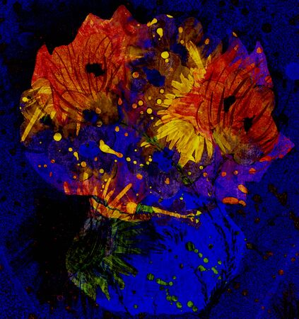 Expressionistic still life with flowers in a vase, night scene. Imagens