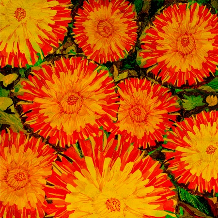 Red and yellow flowers against leaves. Drawing a water color.