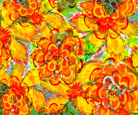 big yellow flower. wetercolor drawing on paper. Imagens - 42002068