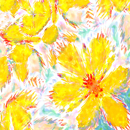 big yellow flower. wetercolor drawing on paper. Imagens - 42002090