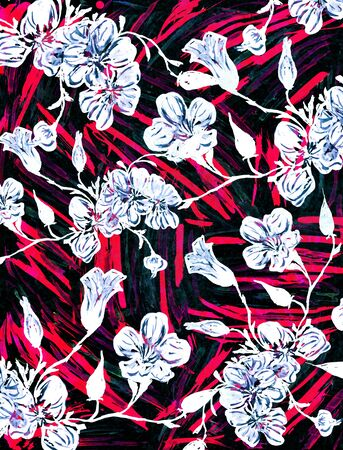 Oriental watercolor drawing with sakura flowers. Imagens