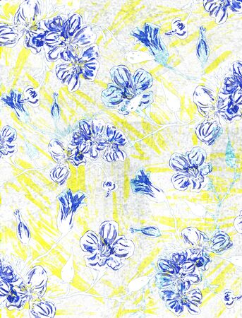 Rural watercolor drawing with blue flowers. Imagens - 42002095