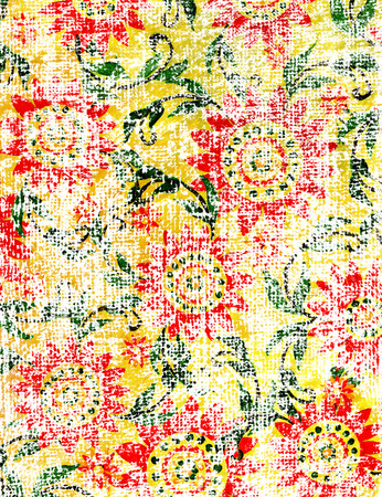 Flowers handdrawn design on a burlap texture.