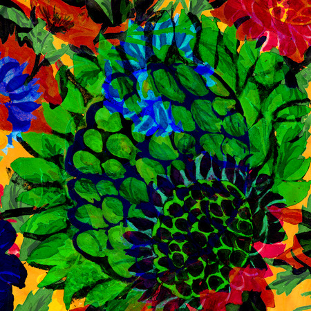 One big green vibrant flower art design. Stock Photo