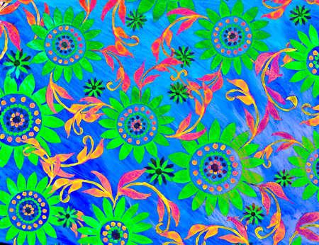 handwrite: Cool neon floral artwork illustration.