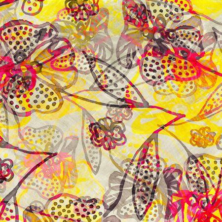 Bright pop-art floral design illustration