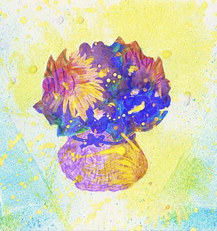 Art hand drawn flowers in a vase. Imagens - 44391316