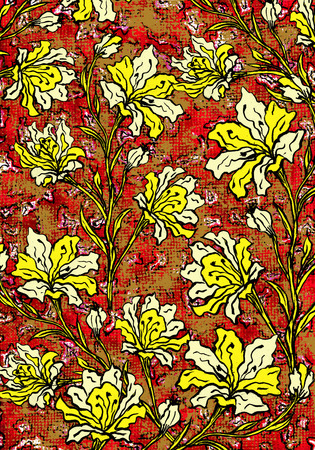 Yellow flowers on a rough red cloth textured background, hand drawn design