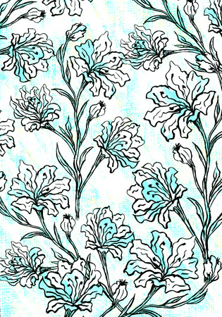 Floral graphic design on a white and blue cloth texture. Stock Photo