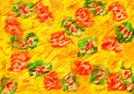 Bright yellow watercolor background with abstract flowers.