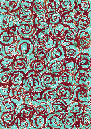 contrast resolution: Abstract brown and turquoise circle background from watercolor